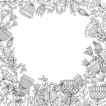 Coloring page with doodle flowers frame