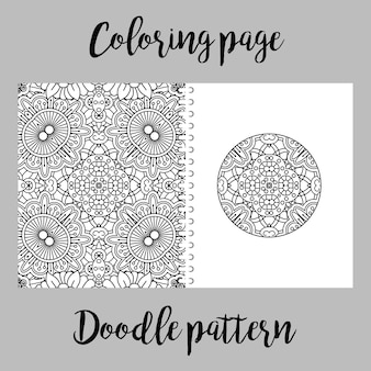 Coloring page with doodle pattern