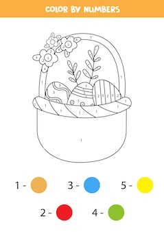Premium Vector Coloring Page With Cartoon Easter Egg Color By Numbers Math Game For Kids