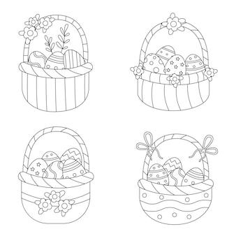 イースターバスケットのぬりえ。卵がいっぱい入った黒と白のバスケットのセット。