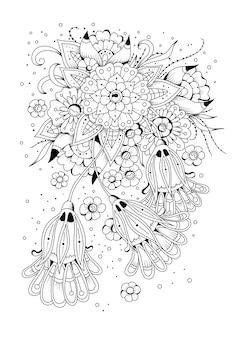 花とつぼみの着色のページ。ベクトルイラスト。着色のための黒と白の背景。