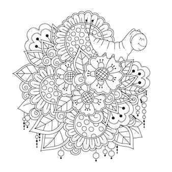 Раскраска с цветами и мультяшной гусеницей art line