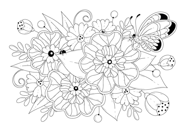 Coloring page with flowers and butterflies