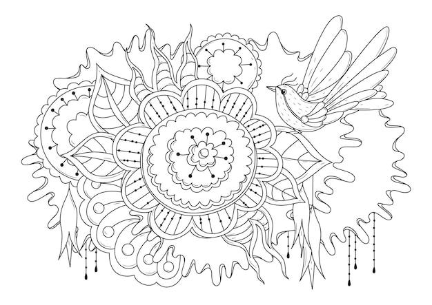Раскраска с листьями цветов и птицей