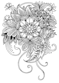 Coloring page with flowers and leaves.