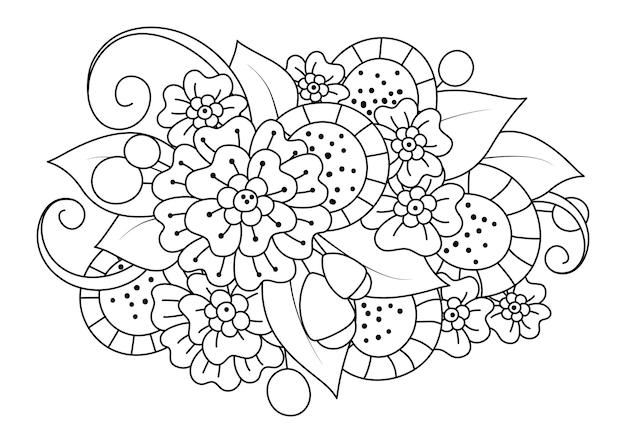 花でページを着色します。