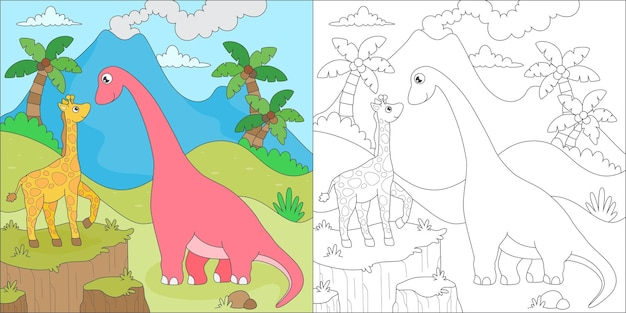 Coloring page with giraffe and dino