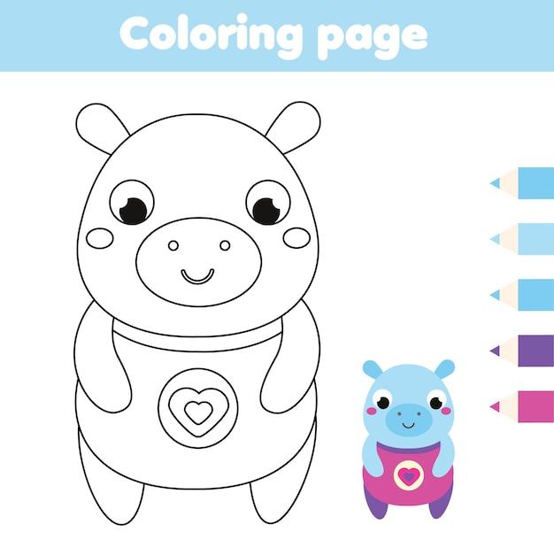 하마와 색칠 공부 페이지입니다. 어린이 활동 그리기. 유아와 어린이를 위한 인쇄용 재미. 동물 테마