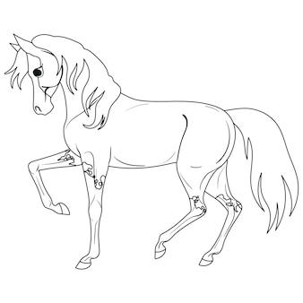 子供のための馬の絵でページを着色孤立したベクトル図