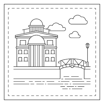 Coloring page with house and bridge