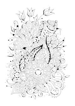 大小の花でページを着色します。着色のための黒と白の背景。