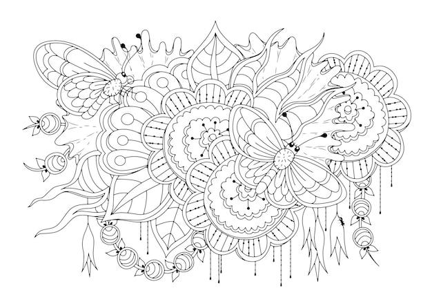 Раскраска с большими цветами и бабочками иллюстрация к раскраске