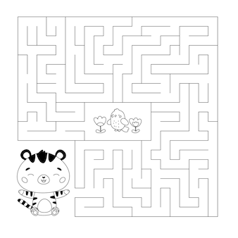 Coloring page with maze game cute cartoon tiger and flowers