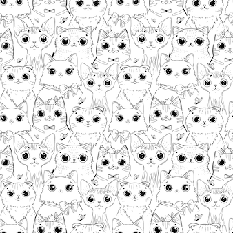 Coloring page with pattern of different cartoon heads of cats.