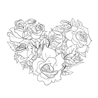 ハートの形をしたバラの着色のページ。
