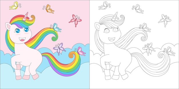 Coloring page with unicorn and butterfly