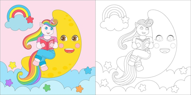 Coloring page with unicorn reading a book 2