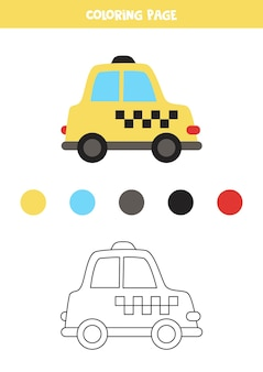 Coloring page with vector taxi cab. worksheet for children. Premium Vector