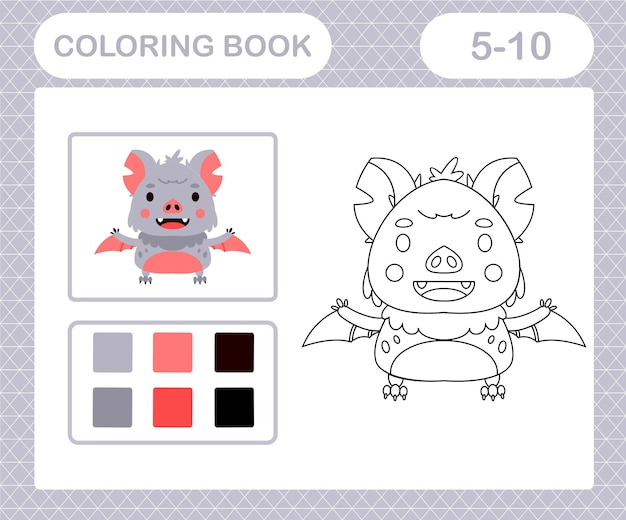 Coloring pages cartoon bat,education game for kids age 5 and 10 year old