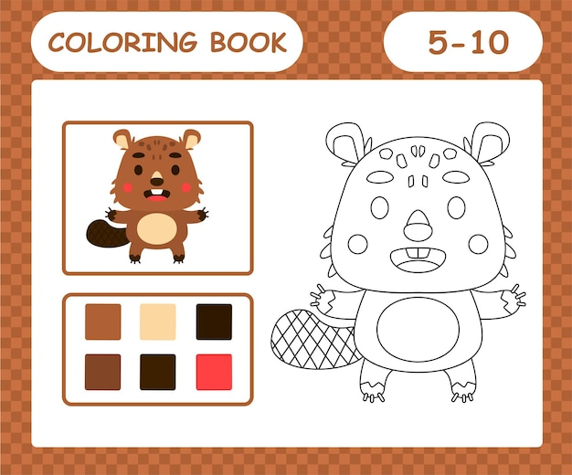 Coloring pages cartoon beaver,education game for kids age 5 and 10 year old