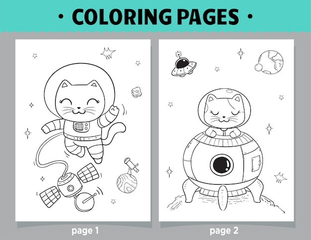 Coloring pages cartoon cats astronaut space