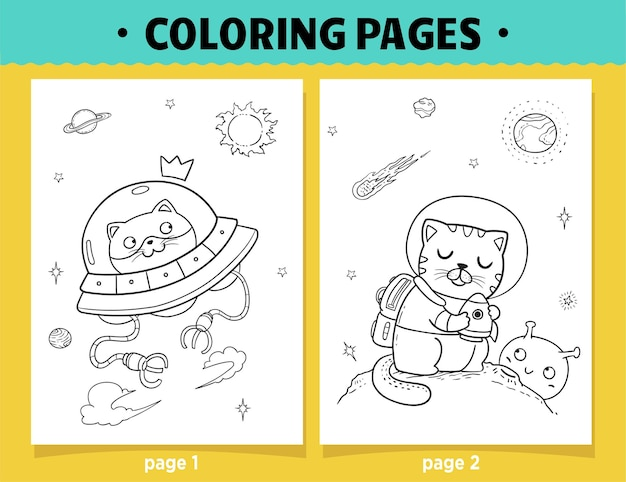 Coloring pages cartoon cats and ufo in space