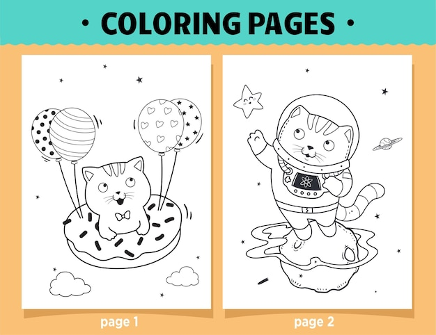 Coloring pages cartoon cute cat flying on a dessert and astronauts