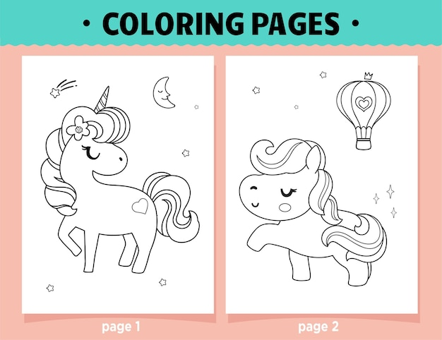 Coloring pages cartoon cute unicorn