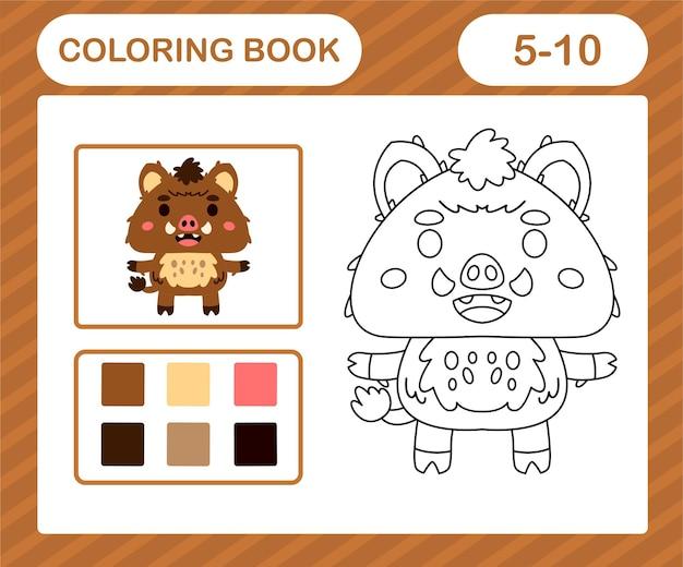 ぬりえページ漫画ロバ、5歳と10歳の子供のための教育ゲーム