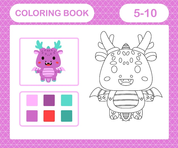 Coloring pages cartoon dragon,education game for kids age 5 and 10 year old