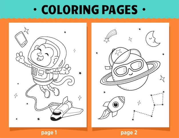 Coloring pages cartoon monkey  and moon in space