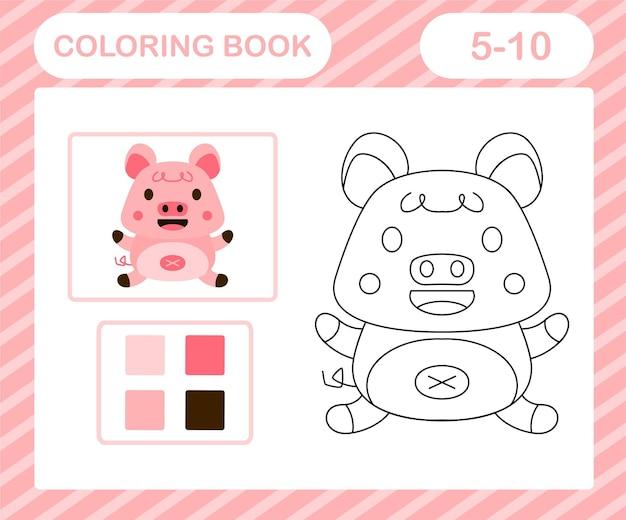 Coloring pages cartoon pig,education game for kids age 5 and 10 year old