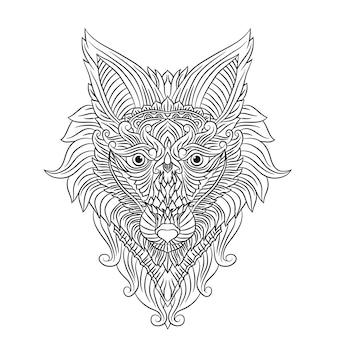 ぬりえページかわいい美しいオオカミが立ってハウリングぬりえ