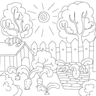 Раскраски для детей, векторная книжка-раскраска морковь в саду