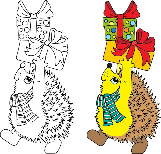 Coloring pages for kids, funny little animal. hedgehog with christmas presents rushes to visit