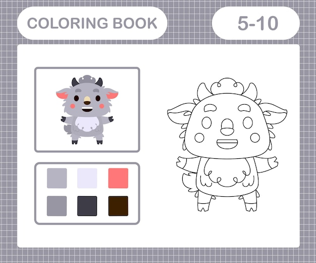 5세와 10세 어린이를 위한 귀여운 염소 교육 게임의 색칠 공부 페이지