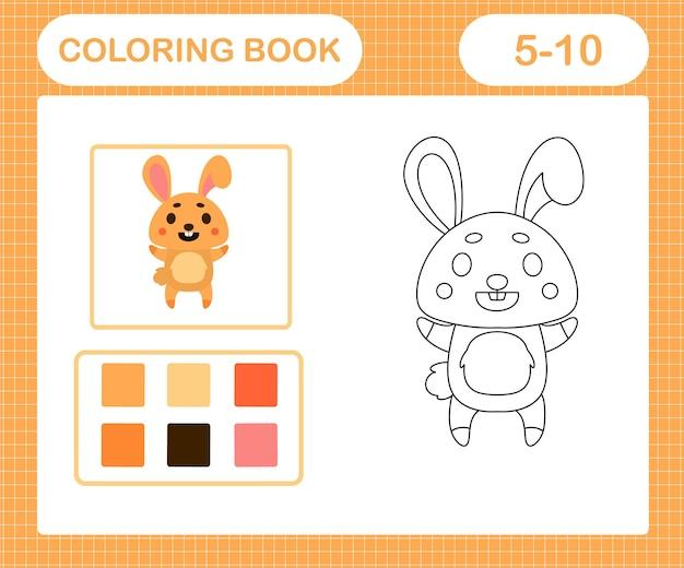 5歳と10歳の子供のためのかわいいウサギの教育ゲームの着色ページ