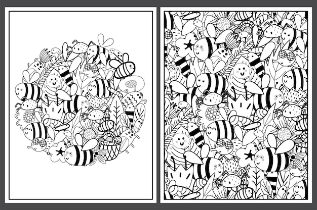 Coloring pages set with cute bees