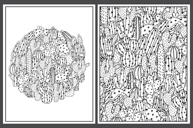 Coloring pages set with cute cactuses