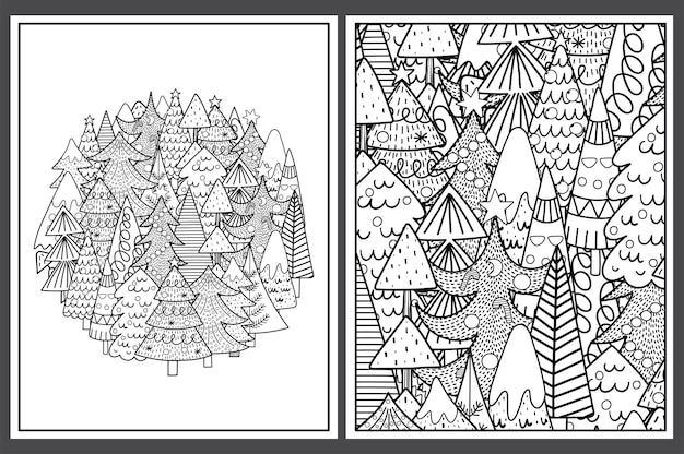귀여운 크리스마스 트리 설정 색칠 페이지
