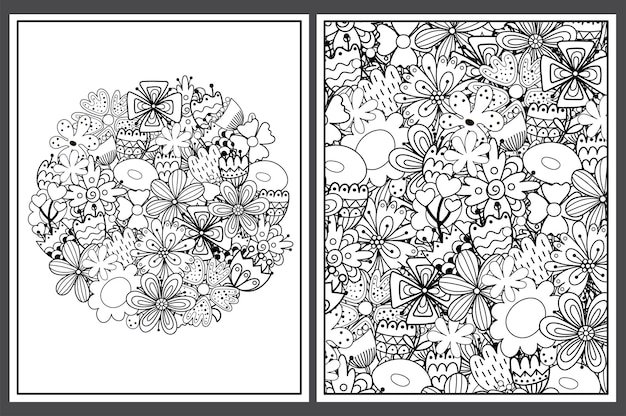 落書きの花で設定された着色ページ塗り絵のための花飾り