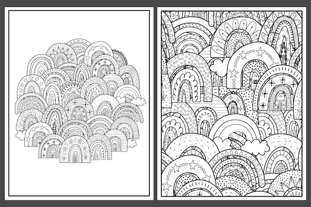 Coloring pages set with doodle rainbows