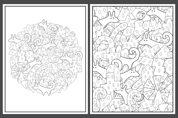 Coloring pages set with tribal elements and dogs illustration