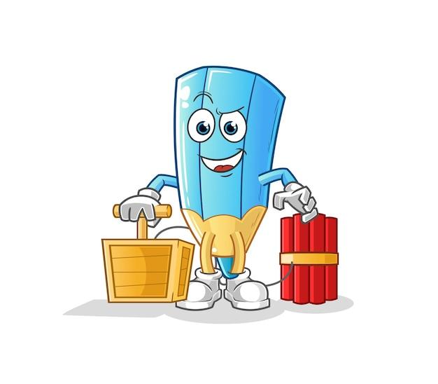 The coloring pencil holding dynamite detonator. cartoon mascot