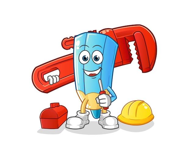 The coloring pencil plumber cartoon. cartoon mascot