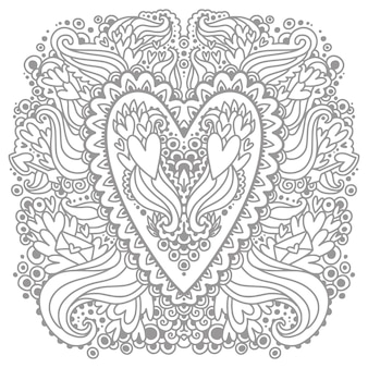 Coloring picture with the doodle hearts