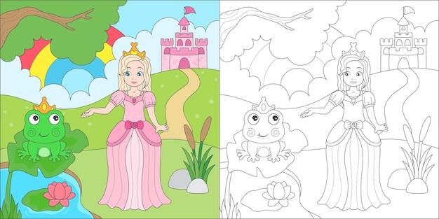 Coloring princess and frog prince