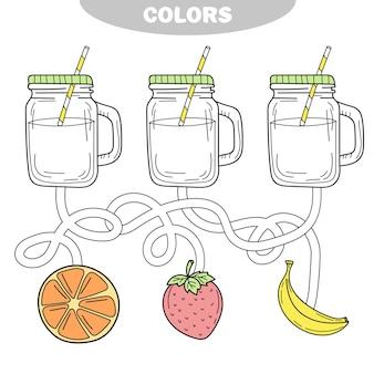 레모네이드를 색칠하는 아이들을 위한 색칠놀이 퍼즐과 활동