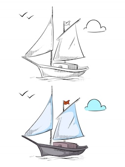 Coloring ship. hand drawn boat isolated