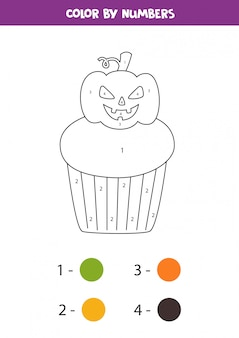 Coloring spooky halloween cupcake by numbers. math game.